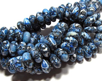 LOOSE Gemstone Beads - Mosaic Magnesite Turquoise Beads - 6x12mm Rondelles - Blue, Black, White (6 beads) - gem641