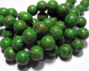 LOOSE Gemstone Beads - Mosaic Magnesite Beads - 11-12mm Rounds - Olive Green, Pumpkin Orange (5 beads) - Gem668