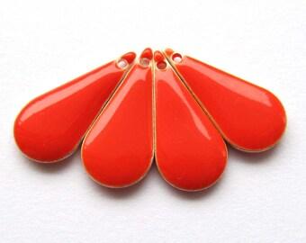 Metal & Epoxy Teardrop Drops - Silver Plated Red-Orange (4 drops) - spa419