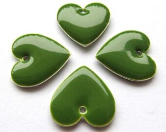 Metal & Epoxy Heart Drops - Silver Plated Nephrite Green (4 drops) - spa482