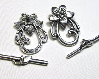 Metal Toggle Clasp - Pewter Fancy Lily (2 clasps) - tog136