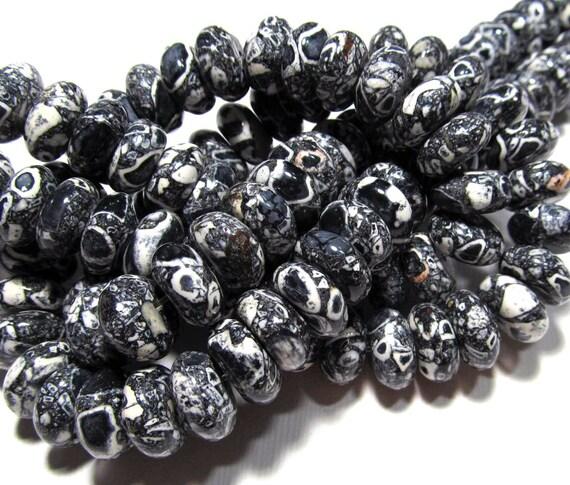 LOOSE Gemstone Beads - Mosaic Magnesite Turquoise Beads - 6x12mm Rondelles - Black, White (8 beads) - gem642