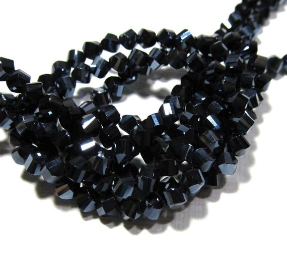 LOOSE Glass Crystal Beads - 4mm Fancy Twisted Step Cut - Metallic Dark Blue-Black (15 beads) - gla360
