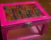 gummi bear decorated pink trinket box