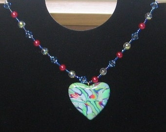 Green and Blue Heart necklace/230