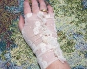 Petal Fingerless Gloves Vintage Cream Soft Lace Bridal Wedding Boho Cottage Chic Tea Party Jane Eyre