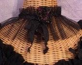 Fortune Teller Choker Black Lace Velvet Brocade Rose