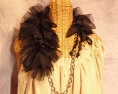 Black Swan Shawl Stole Cape Chiffon Chain Collar Capelet Silver or Brass Chain Womens
