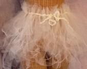 RESERVED Ballerina Womens Tutu Skirt Tattered Belt or Cape Custom Made Tulle Ivory