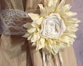 Bridal Sunflower Belt Velvet Ivory Sash Girls Juniors Women Wedding Fashion