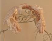 Vintage Hair Fascinator Headband Angels Wings Hat Mid-Century Pink Velvet Bow Womens, Girls, Teens