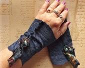 Blue Lace Arm Warmers Velvet Rose Cuffs Fingerless Gloves Snow Blockers Navy Robins Egg Teens Juniors Womens Vintage Doily