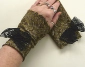 Gold Arm Warmers Fingerless Gloves Black Bow Metallic Disco Stretch Teens, Juniors, Womens Fashion
