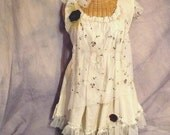 Tea Party Dress Wonderland Medium M to XL Size Womens Garden Tattered Embroidered Lace by SavoyFaire