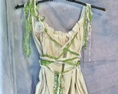 Midsummer Night Party Dress Gown Forest Fairy Pixie Custom Boho Corset Birdcage Hem