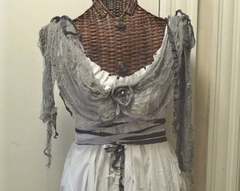Girls Zombie Bride Dress Corpse Train and Veil Custom Ghost Scary Spooky White Gothic Halloween Costume