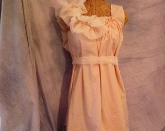 Peach Bridesmaid Dress Tie The Knot Custom Order Chiffon Ruffle Cotton Juniors Womens White