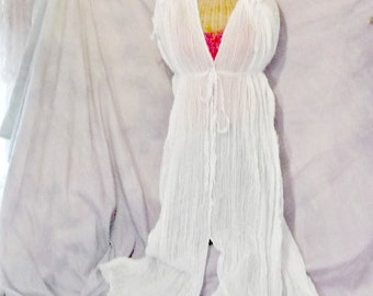 Maxi Caftan Sirens Song Beach Spa Cover Up White One Size