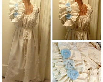 Ragdoll Maternity Dress Long Blue or Pink on Ivory or White Midi or Maxi Floor Length Bridal Gown Custom Womens Ruffled Tattered Eco