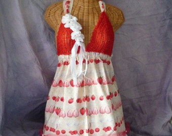 Cake Top Tunic Apron Crochet Bra Coachella, Red, Lavender White One Size Juniors Womens by Savoyfaire