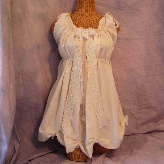 Birdcage Bow Dress or Long Tunic Eco Cotton Junior Womens Tattered
