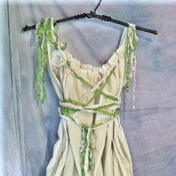 Woodland Wedding Dress Bridal Gown Mori Girl Renaissance Forest Rustic  Fairy Pixie Custom Boho Corset Birdcage Hem Womens