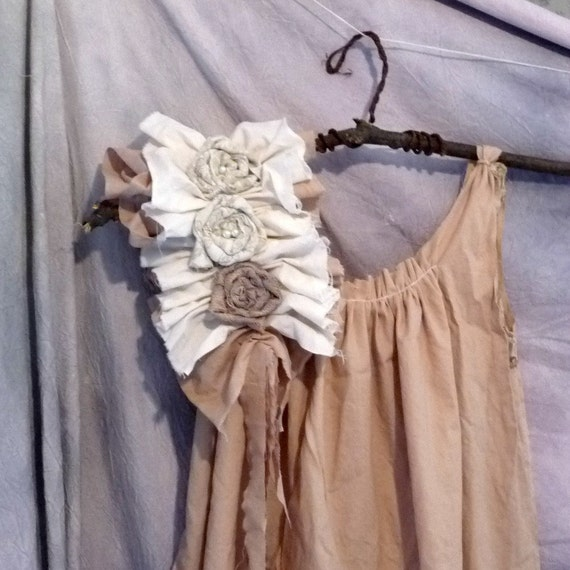 Ragdoll Dress Knee Length, Two Tone, Custom Made Maternity Recycled Rustic Chic Juniors Womens Ruffled Tattered Eco