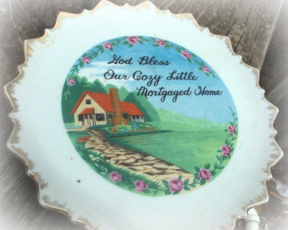 Reserved for Mary Jo -  Vintage Porcelain Plate Wall Hanging