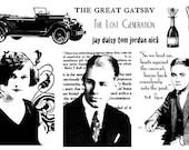 Gatsby Flapper 1920's vintage rubber stamp sheet