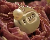 Custom Stamped Sterling Silver Wedding I DO Freshwater Pearl Necklace