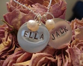 2 Name and 2 Freshwater Pearl Custom Stamped Sterling Silver Necklace