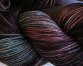 March Hare hand dyed worsted weight yarn, 4ply superwash merino, 100g 220yds - Naughty Aubergines 3