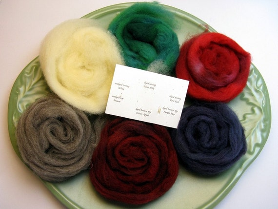 Silksheep spinning wool hand dyed and natural sample pack:48g/1oz5