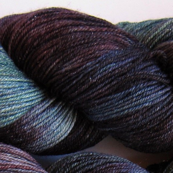 Arctic Hare hand dyed sock yarn fingering weight, 3ply superwash with sparkle, 100g: Nightshade 1