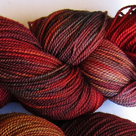 Jackrabbit 4oz hand dyed sock yarn fingering weight, 2ply superwash merino, 114g: Tupelo 1