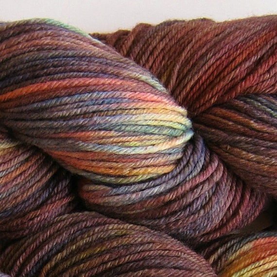 March Hare hand dyed worsted weight yarn, 4ply superwash merino, 100g 220yds - Toad Lily 1