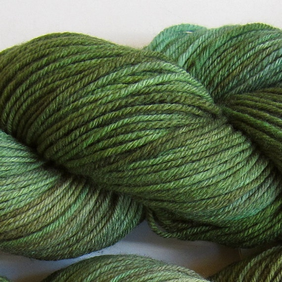 March Hare hand dyed worsted weight yarn, 4ply superwash merino, 100g 220yds - Moss 1