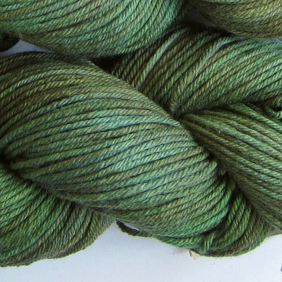 March Hare hand dyed worsted weight yarn, 4ply superwash merino, 100g 220yds - Moss 3