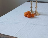 vintage french monogramed linen tablecloth