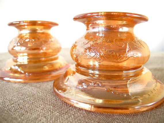 illumination table - two carnival glass candlesticks