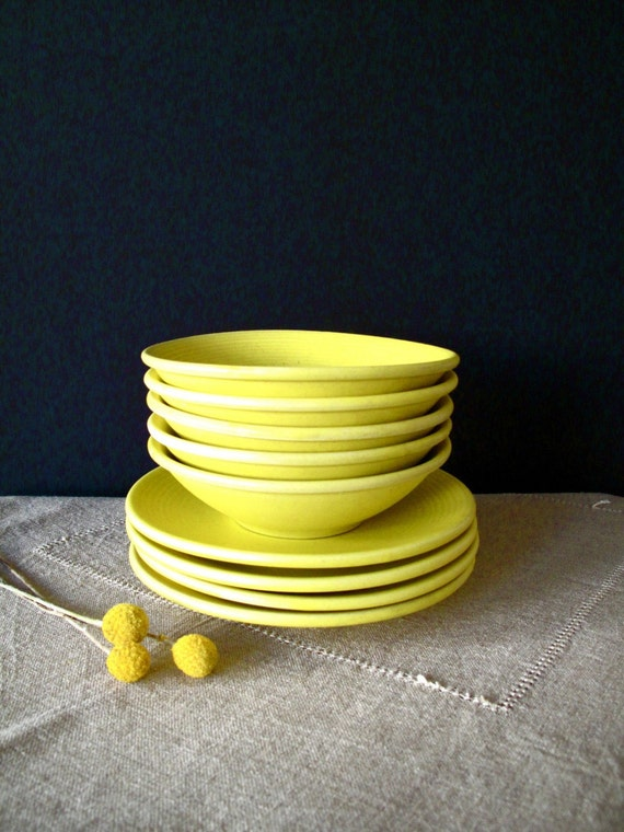 RESERVED. yellow plates and bowls