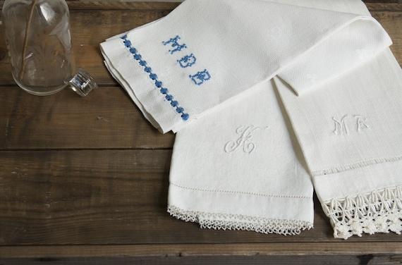 farmhouse basics. 3 vintage monogramed hand towels