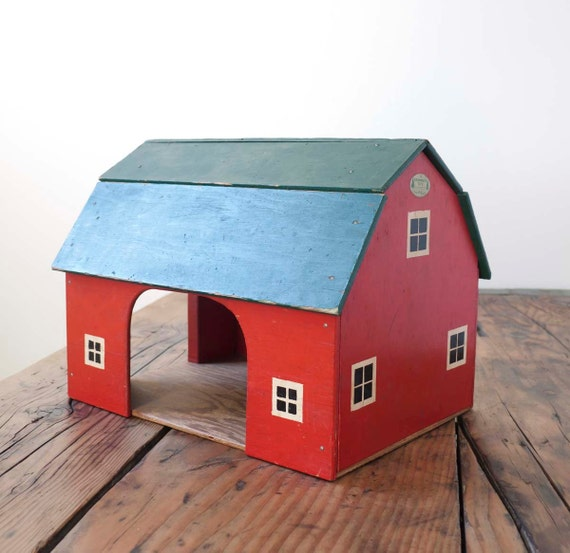 vintage red toy barn