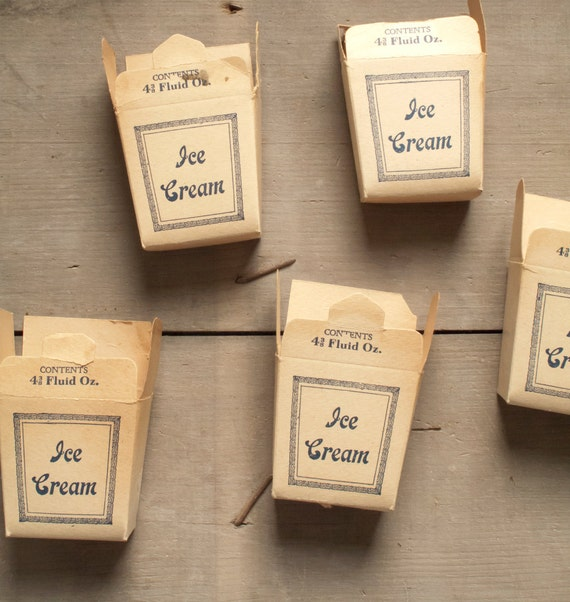 vintage paper ice cream boxes