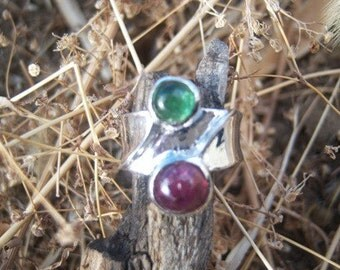 Uncut Green and Red Garnet Ring/154