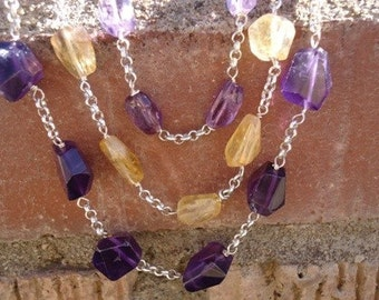 Chunky Citrine and Amethyst Necklace / 108