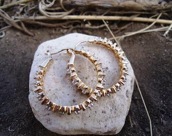 Gold Plated and Diamond Hoop Earrings /491