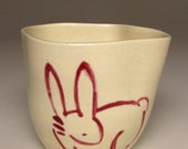 Asymmetrical Cup with Japanese Style Drawing (Bunny in Pink)