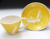 Yellow Grasshopper Cup and Plate Set