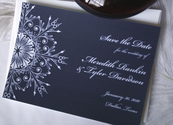 Winter wonderland wedding, custom snowflake wedding invtation, navy and white wedding